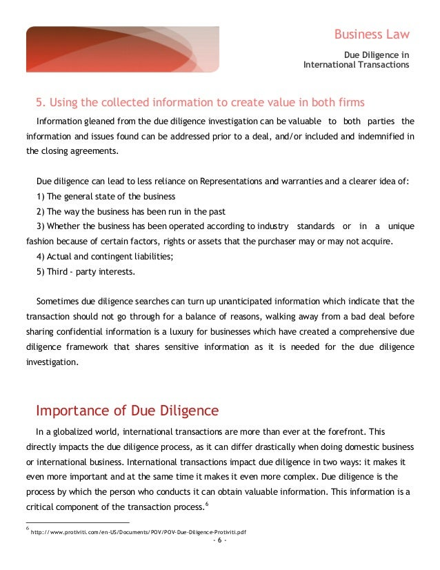 due diligence sample report pdf