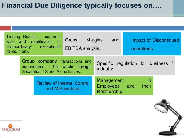 Financial Due Diligence typically focuses on…. Review of Internal Control and MIS systems Group company transactions and d...