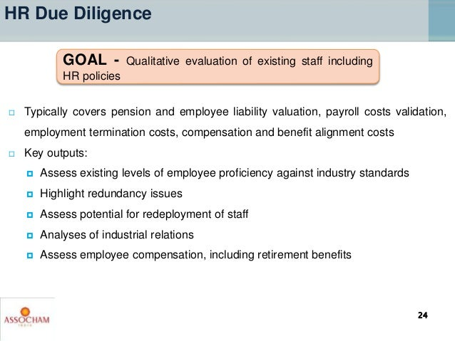  Typically covers pension and employee liability valuation, payroll costs validation, employment termination costs, compe...