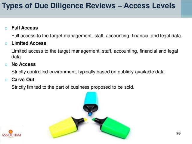  Full Access Full access to the target management, staff, accounting, financial and legal data.  Limited Access Limited ...