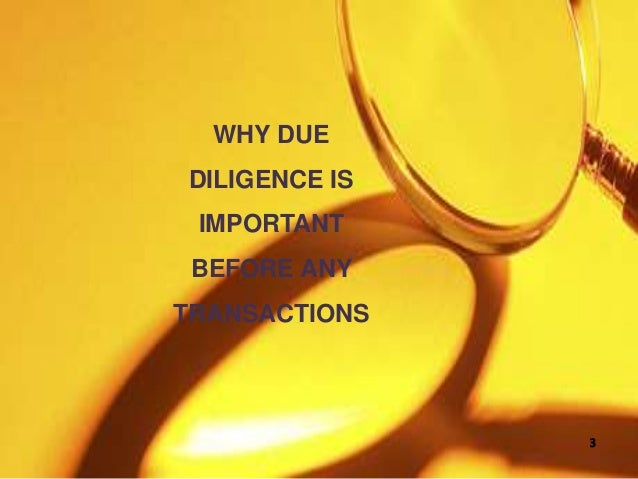 WHY DUE DILIGENCE IS IMPORTANT BEFORE ANY TRANSACTIONS 3