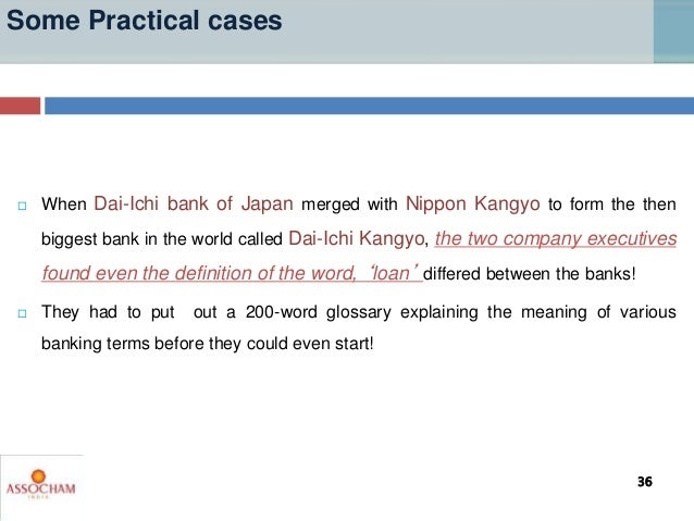 Some Practical cases  When Dai-Ichi bank of Japan merged with Nippon Kangyo to form the then biggest bank in the world ca...
