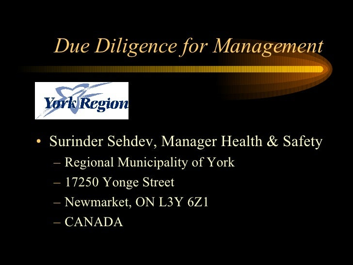 Due Diligence for Management