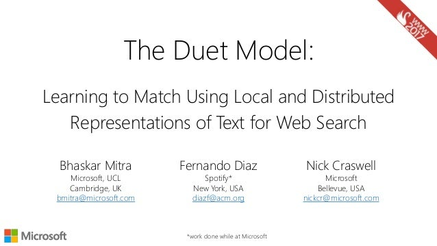 Learning to Match Using Local and Distributed Representations of Text for Web Search Nick Craswell Microsoft Bellevue, USA...