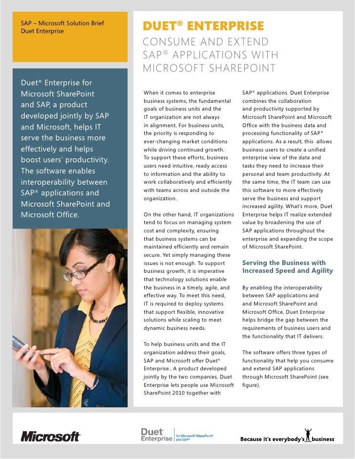 SAP – Microsoft Solution BriefDuet Enterprise                  DUET® ENTERPRISE                                 CONSUME AN...