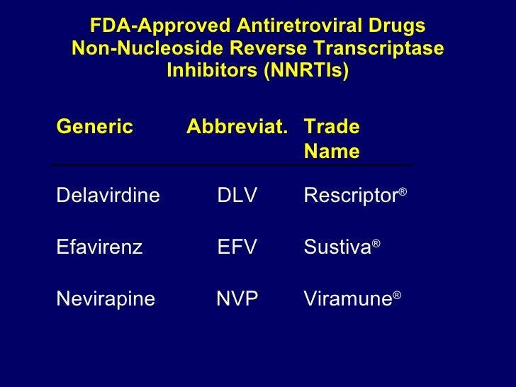 FDA-Approved Antiretroviral Drugs Non-Nucleoside Reverse Transcriptase Inhibitors (NNRTIs) Viramune ® NVP Nevirapine Susti...