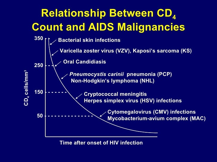 Relationship Between CD 4 Count and AIDS Malignancies 50 - - - - - - - - - - - - - - -  150 - - - - - - -  250 - - - - 350...