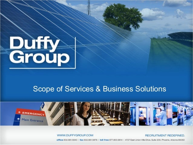 Scope of Services & Business Solutions