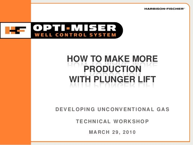HFOPTIMISER.COM DEVELOPING UNCONVENTIONAL GAS TECHNICAL WORKSHOP MARCH 29, 2010 HOW TO MAKE MORE PRODUCTION WITH PLUNGER L...