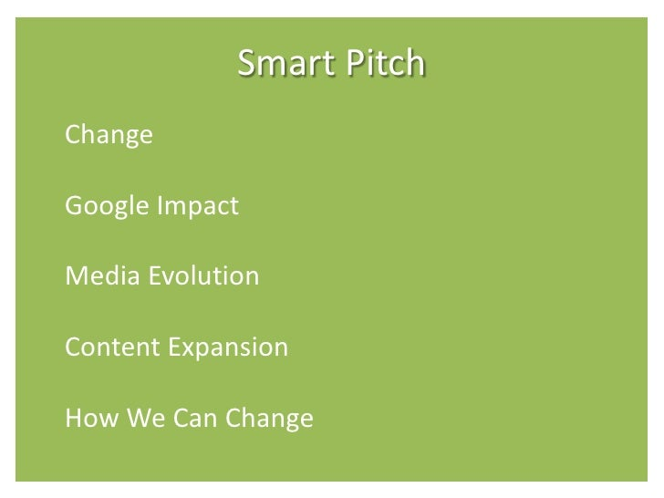Smart Pitch Change  Google Impact  Media Evolution  Content Expansion  How We Can Change