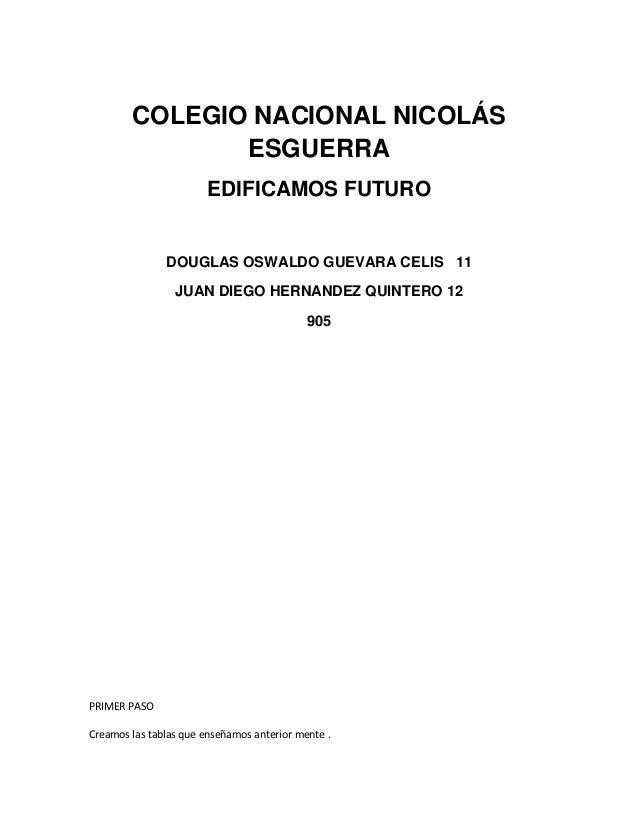 COLEGIO NACIONAL NICOLÁS ESGUERRA EDIFICAMOS FUTURO DOUGLAS OSWALDO GUEVARA CELIS 11 JUAN DIEGO HERNANDEZ QUINTERO 12 905 ...