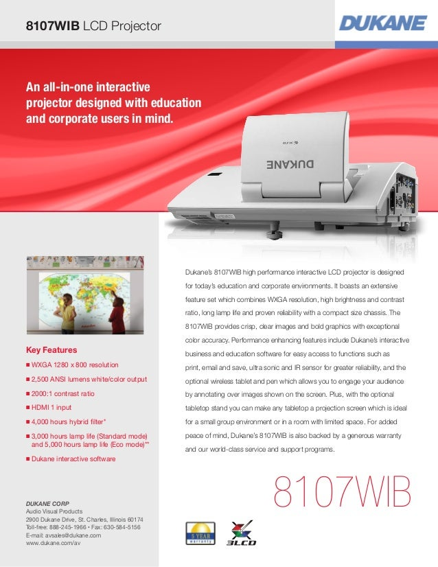 8107WIB LCD Projector  An all-in-one interactive projector designed with education and corporate users in mind.  Dukane's ...