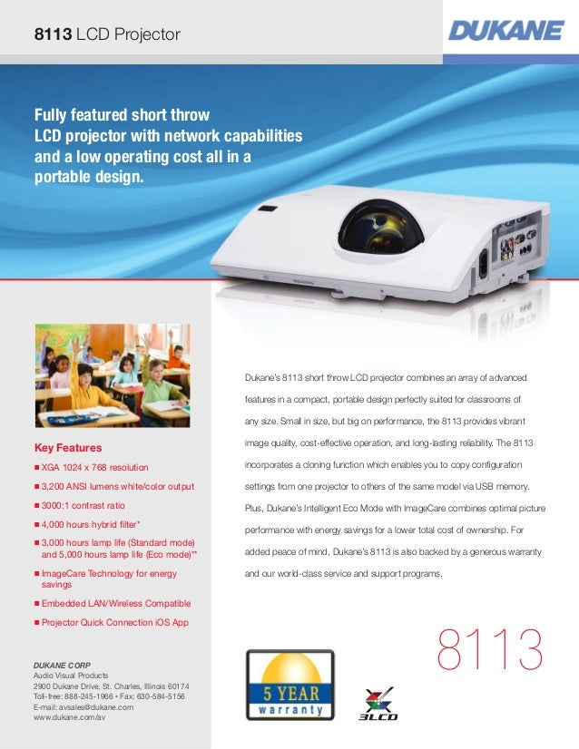 8113 LCD Projector  Fully featured short throw LCD projector with network capabilities and a low operating cost all in a p...