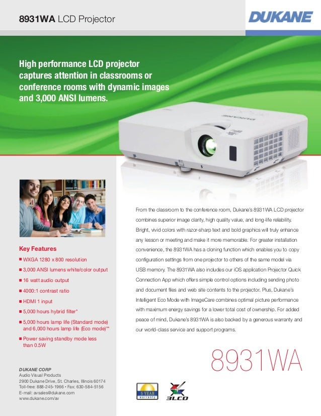 High performance LCD projector captures attention in classrooms or conference rooms with dynamic images and 3,000 ANSI lum...