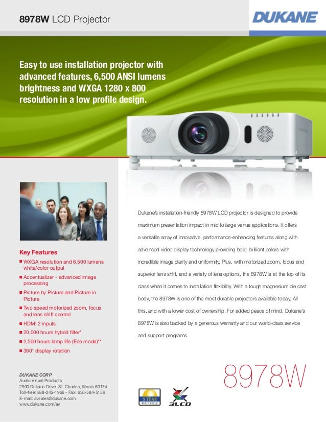 Easy to use installation projector withadvanced features, 6,500 ANSI lumensbrightness and WXGA 1280 x 800resolution in a l...