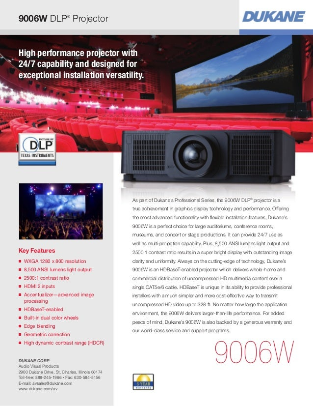 High performance projector with 24/7 capability and designed for exceptional installation versatility. Key Features ■ WXGA...