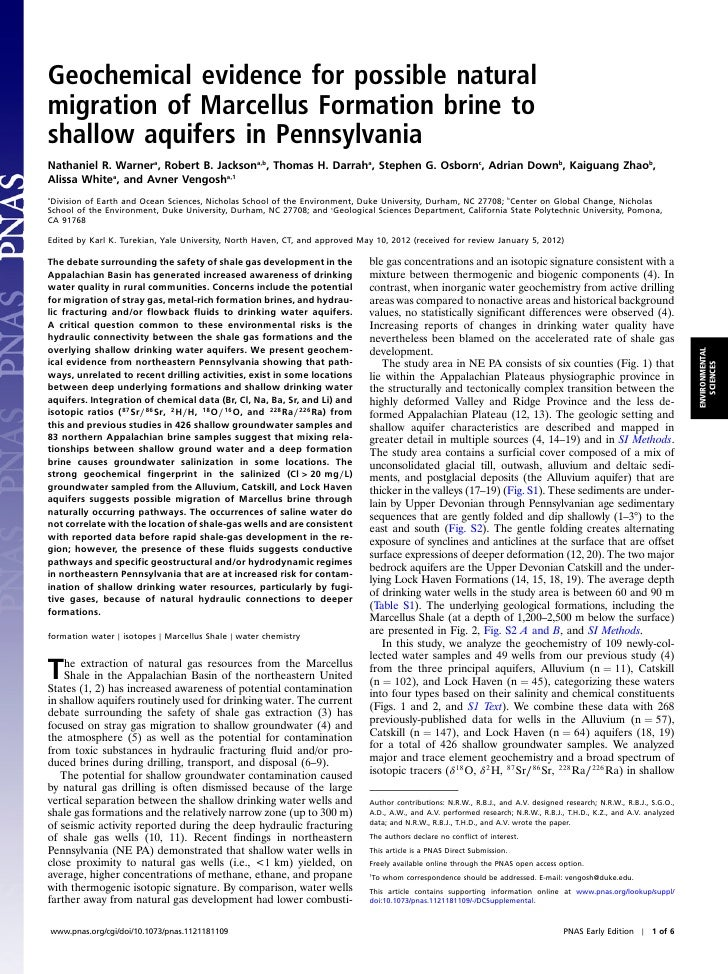 Geochemical evidence for possible naturalmigration of Marcellus Formation brine toshallow aquifers in PennsylvaniaNathanie...