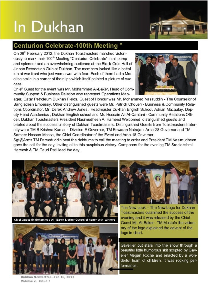 """In DukhanCenturion Celebrate-100th Meeting """"On 08th February 2012, the Dukhan Toastmasters marched victori-ously to mark t..."""