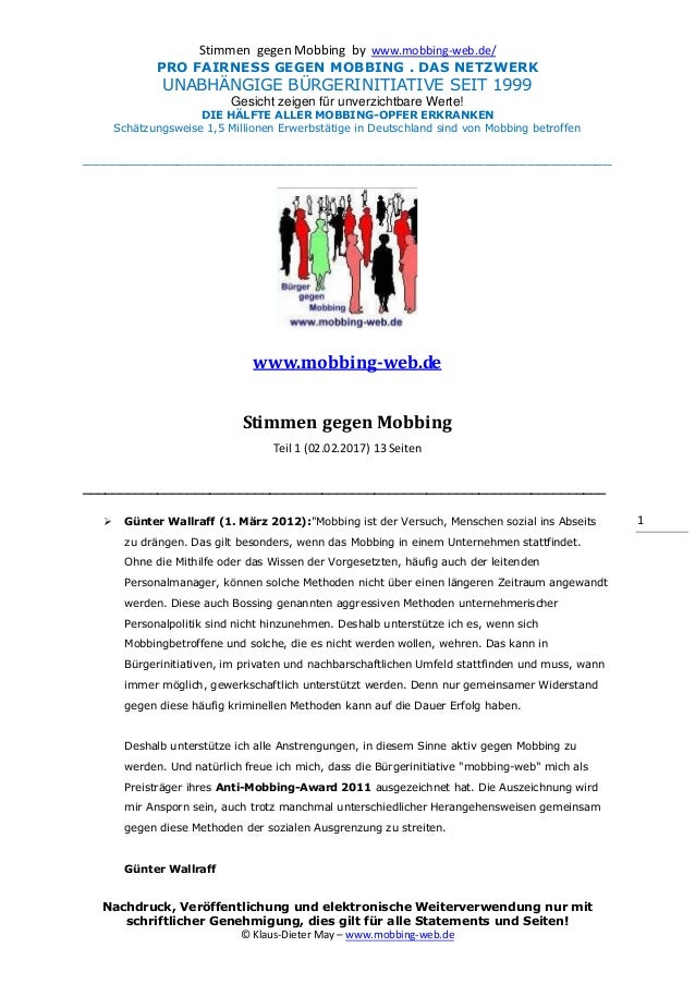 Stimmen gegen Mobbing by www.mobbing-web.de/ PRO FAIRNESS GEGEN MOBBING . DAS NETZWERK UNABHÄNGIGE BÜRGERINITIATIVE SEIT 1...