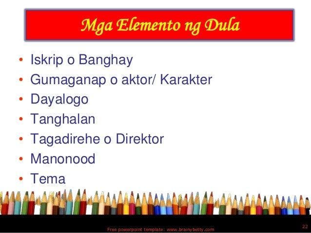 mga dula Ang mga tula ay maaaring nagtataglay ng pag-ibig sa bayan, pagmamahal sa kapwa at kalikasan ang tula ay may iba't-ibang uri tulad ng tulang liriko o pandamdamin, tulang pasalaysay, tulang dula at tulang patnigan.