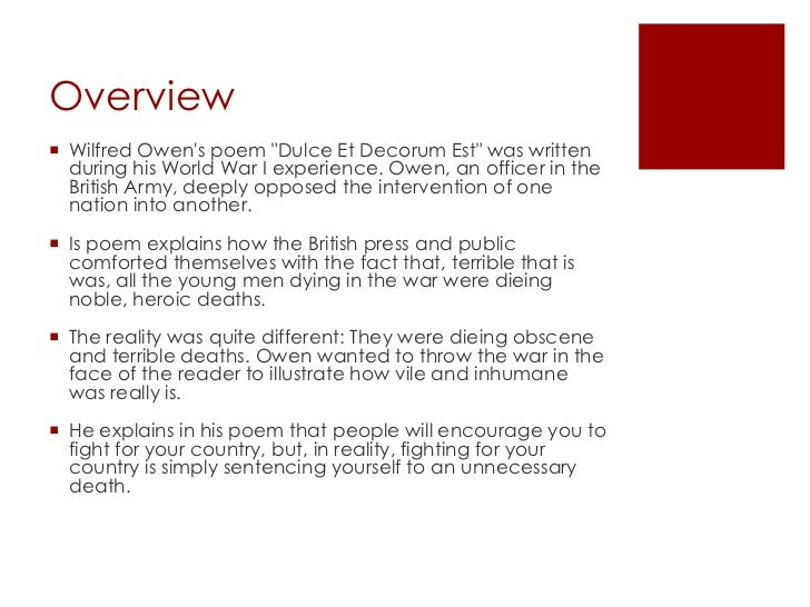 dulce analysis dulce et decorum est by wilfred owen an analysis<br >rose garofano<br > 2