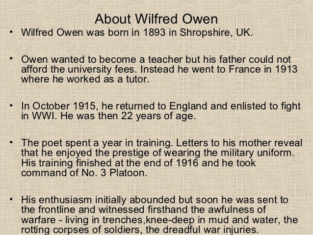 owen dulce et decorum est essay Wilfred owen: poems study guide contains a biography of wilfred owen,  literature essays, quiz questions, major themes, characters, and a full.