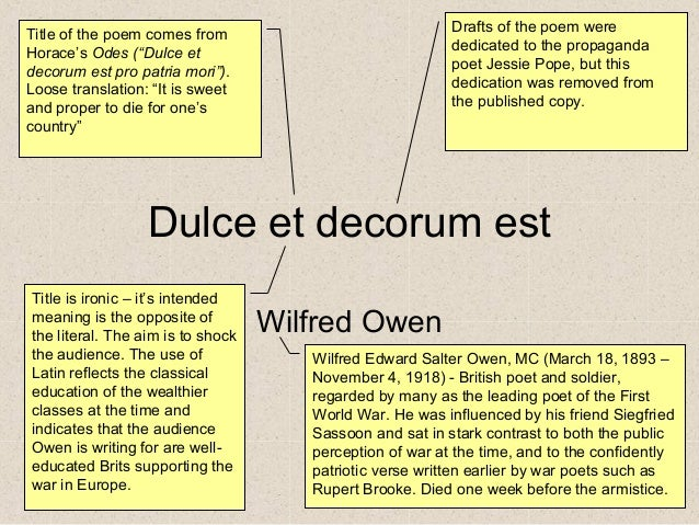 decorum essay Dulce et decorum est analysis – essay example this poem written by wilfred  owen is set during the world war i although, a lot had been written on this.