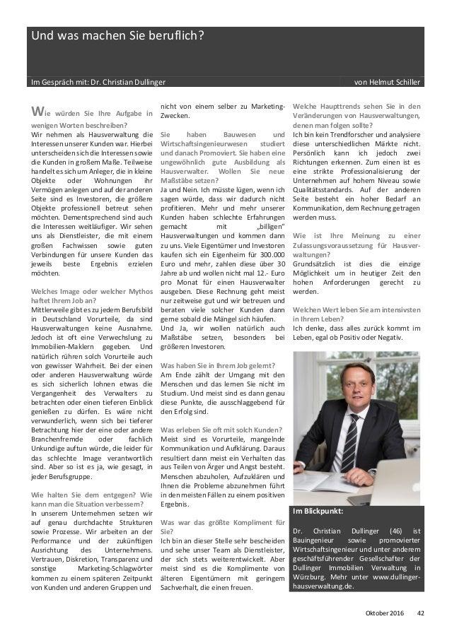Und was machen Sie beruflich? Im Gespräch mit: Dr. Christian Dullinger von Helmut Schiller Wie würden Sie Ihre Aufgabe in ...