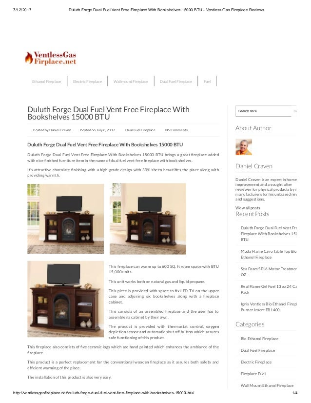 Duluth forge dual fuel vent free fireplace with bookshelves 15000 btu…