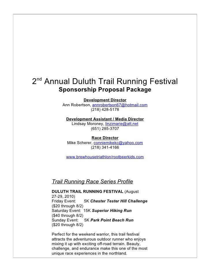 Duluth Trail Fest Sponsorship Proposal – Sponsorship Proposal Samples
