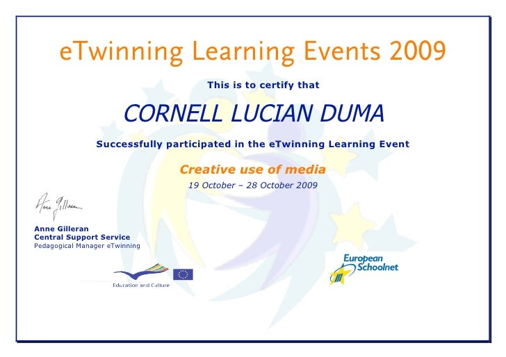 eTwinning Learning Events 2009                                      This is to certify that                           CORN...