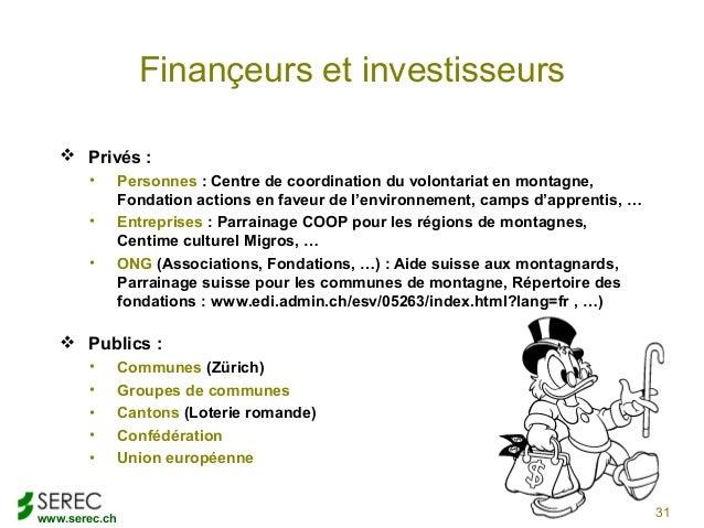 www.serec.chFinançeurs et investisseurs Privés :• Personnes : Centre de coordination du volontariat en montagne,Fondation...