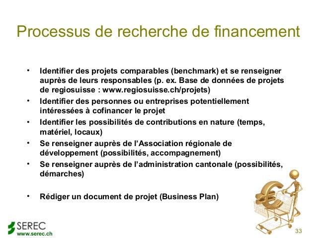 www.serec.chProcessus de recherche de financement• Identifier des projets comparables (benchmark) et se renseignerauprès d...