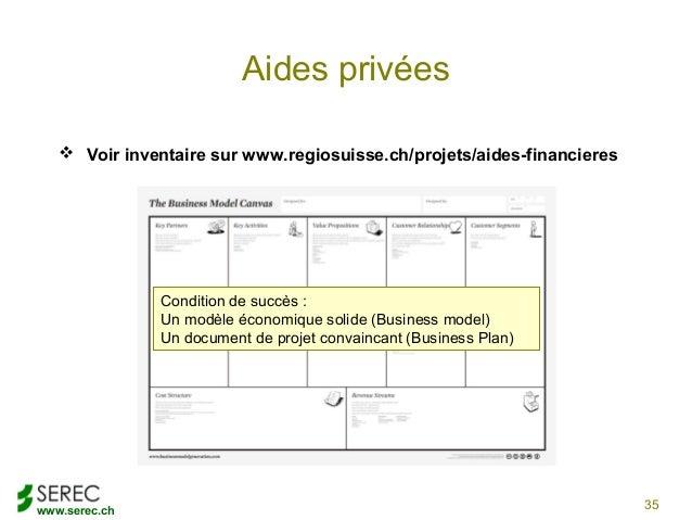 www.serec.chAides privées Voir inventaire sur www.regiosuisse.ch/projets/aides-financieres35Condition de succès :Un modèl...