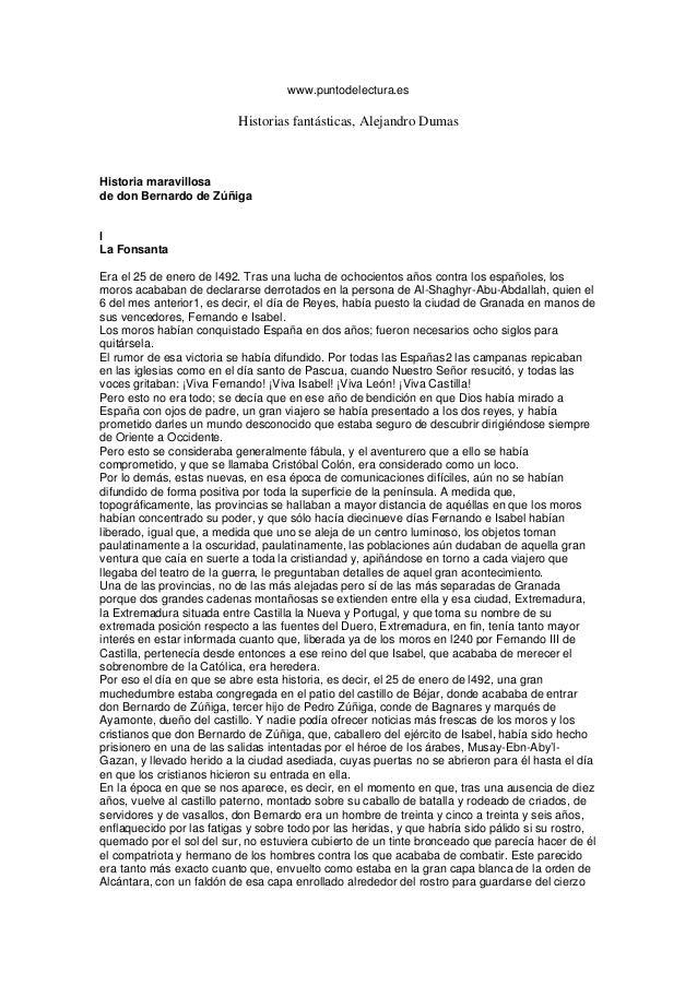 www.puntodelectura.es Historias fantásticas, Alejandro Dumas Historia maravillosa de don Bernardo de Zúñiga l La Fonsanta ...