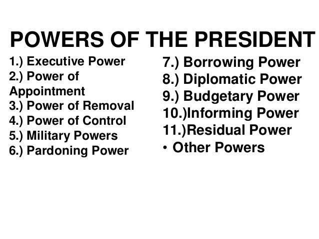7 powers of the president