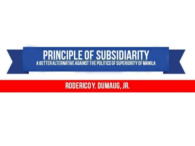 The Principle of Subsidiarity