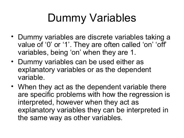 how to use dummy variables Evaluating effect modification with multiple linear regression dummy variables in regression models   example of the use of dummy variables.
