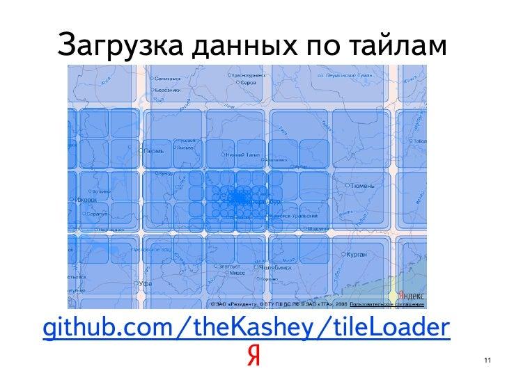 Загрузка данных по тайламgithub.com/theKashey/tileLoader                                  11