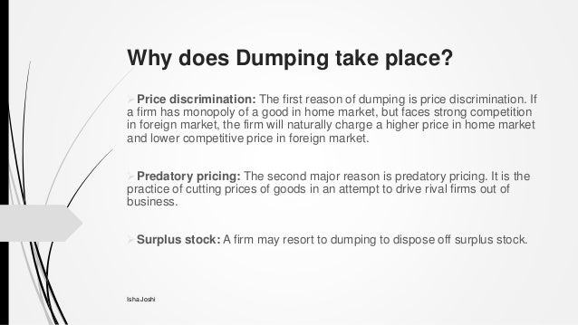 what does dumping mean in economics