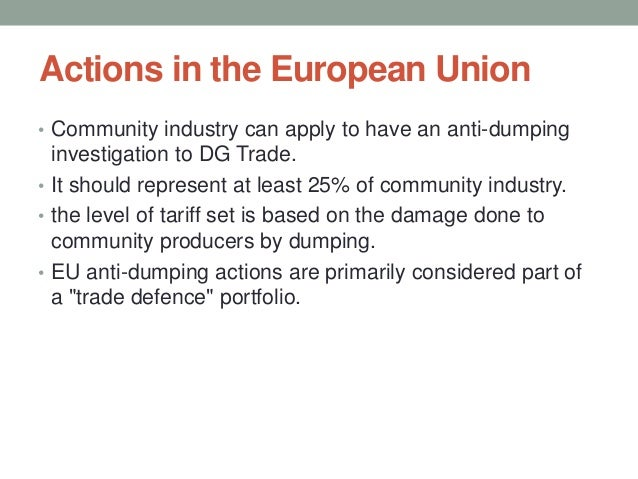 eu to impose anti dumping tariffs on chinese solar panels essay The tariffs were the eu's response to china selling solar panels at less than it  costs to  obama administration imposed tariffs up to 473% on chinese  manufactured solar panels  any products sold above the 7 gw or below the  price floor will be subject to anti-dumping duties  global sustainable energy  essay contest.