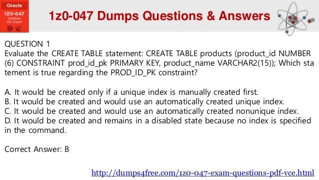 1z0-047 Dumps Pdf
