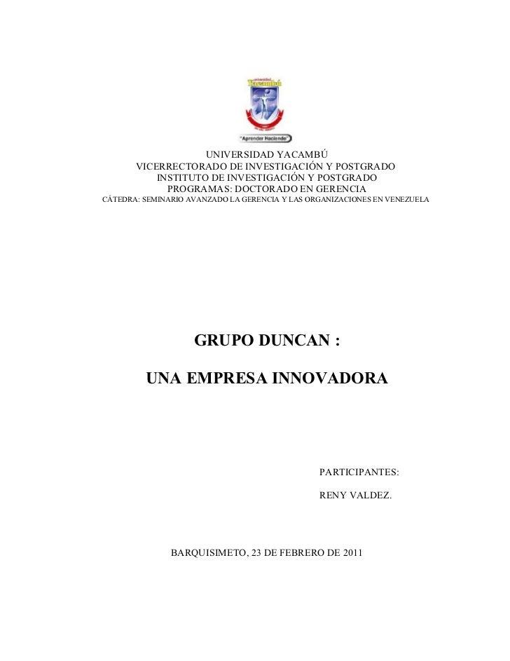 UNIVERSIDAD YACAMBÚ       VICERRECTORADO DE INVESTIGACIÓN Y POSTGRADO           INSTITUTO DE INVESTIGACIÓN Y POSTGRADO    ...