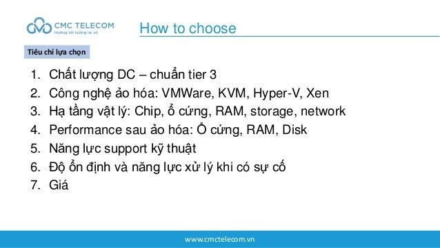 www.cmctelecom.vn 1. Chất lượng DC – chuẩn tier 3 2. Công nghệ ảo hóa: VMWare, KVM, Hyper-V, Xen 3. Hạ tầng vật lý: Chip, ...