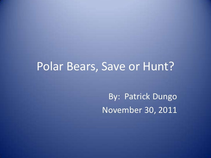 Polar Bears, Save or Hunt?             By: Patrick Dungo            November 30, 2011