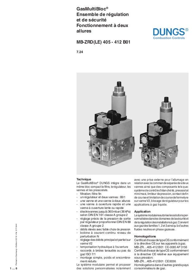 GasMultiBloc® Ensemble de régulation et de sécurité Fonctionnement à deux allures MB-ZRD(LE) 405 - 412 B01  Printed in Ger...