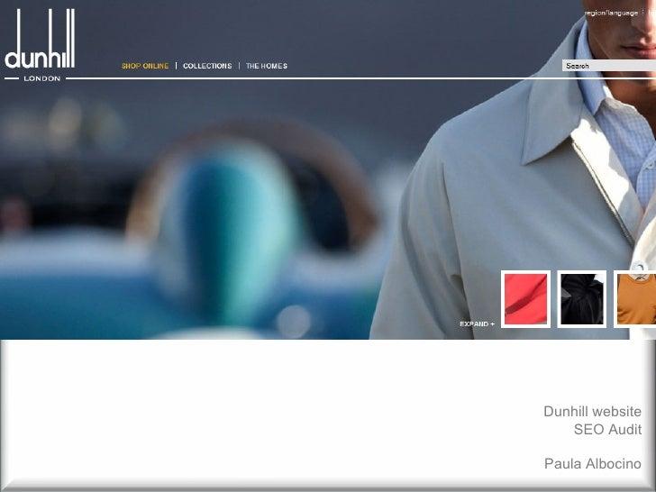 Dunhill website SEO Audit Paula Albocino