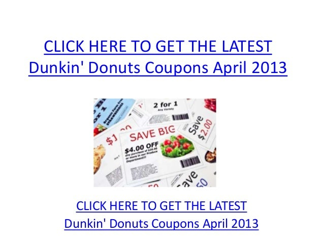 picture about Dunkin Donuts Coupons Printable titled Dunkin Donuts Discount codes April 2013 - Printable Dunkin Donuts