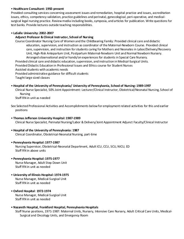 gynecology nurse resume