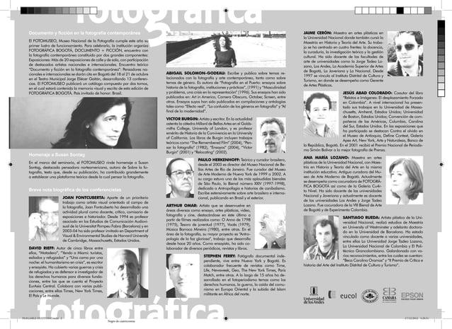 Documento y ficción en la fotografía contemporánea El FOTOMUSEO, Museo Nacional de la Fotografía cumple este año su primer ...